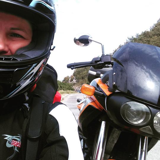 Selfie mit Motorrad
