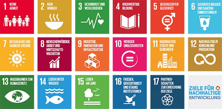 Die 17 Nachhaltigkeitsziele (Piktogramme)