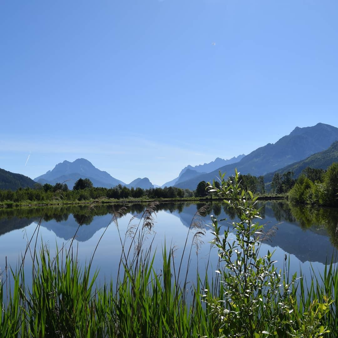 Reflexion von Bergen in völlig glattem See, im Vordergrund Gras