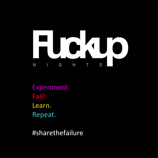 FuckUpNights Logo mit Slogan Experiment Fail Learn Repeat #sharethefailure